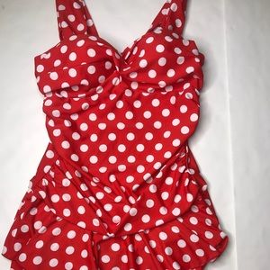 Red and white polka dot swimsuit tankini top sz L